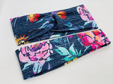 Scratched Linen Navy Floral Headband-Turban Twist and Yoga Styles | Sweet Stitch Novelties