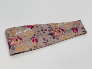 Mauve Floral on Gray Headband-Turban Twist and Yoga Styles | Sweet Stitch Novelties