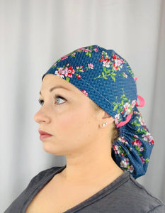 Pink Floral on Navy Dot Ponytail Scrub Cap