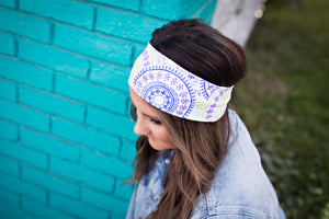 Mandala on White Headband-Turban Twist and Yoga Styles | Sweet Stitch Novelties - Sweet Stitch Novelties