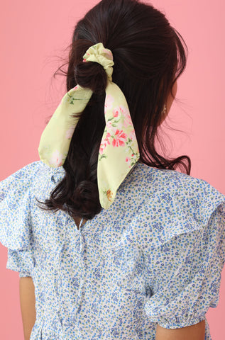 Scarf Scrunchie - Green/Floral