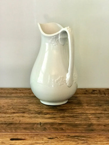 White Ironstone Ewer/Wash Pitcher Floral with Beads