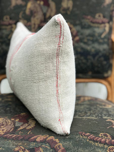 European Grain Sack Lumbar Pillow 12x20 (with patch)