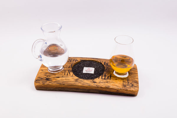 Whisky dram holder with Glencairn glass and water jug