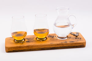 Whisky Barrel Stave With 2 Scottish Whisky Tumblers & Jug