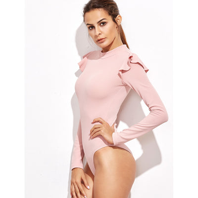 Mock Neck Frill Trim Bodysuit