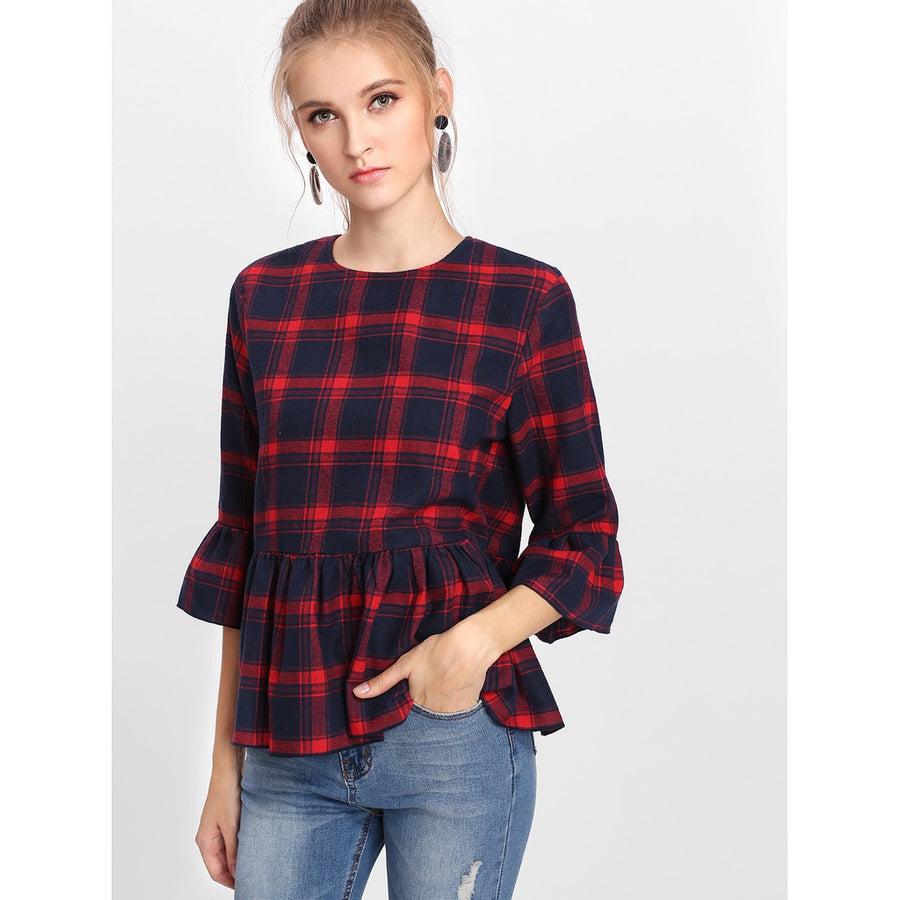 Trumpet Sleeve Checked Smock Top