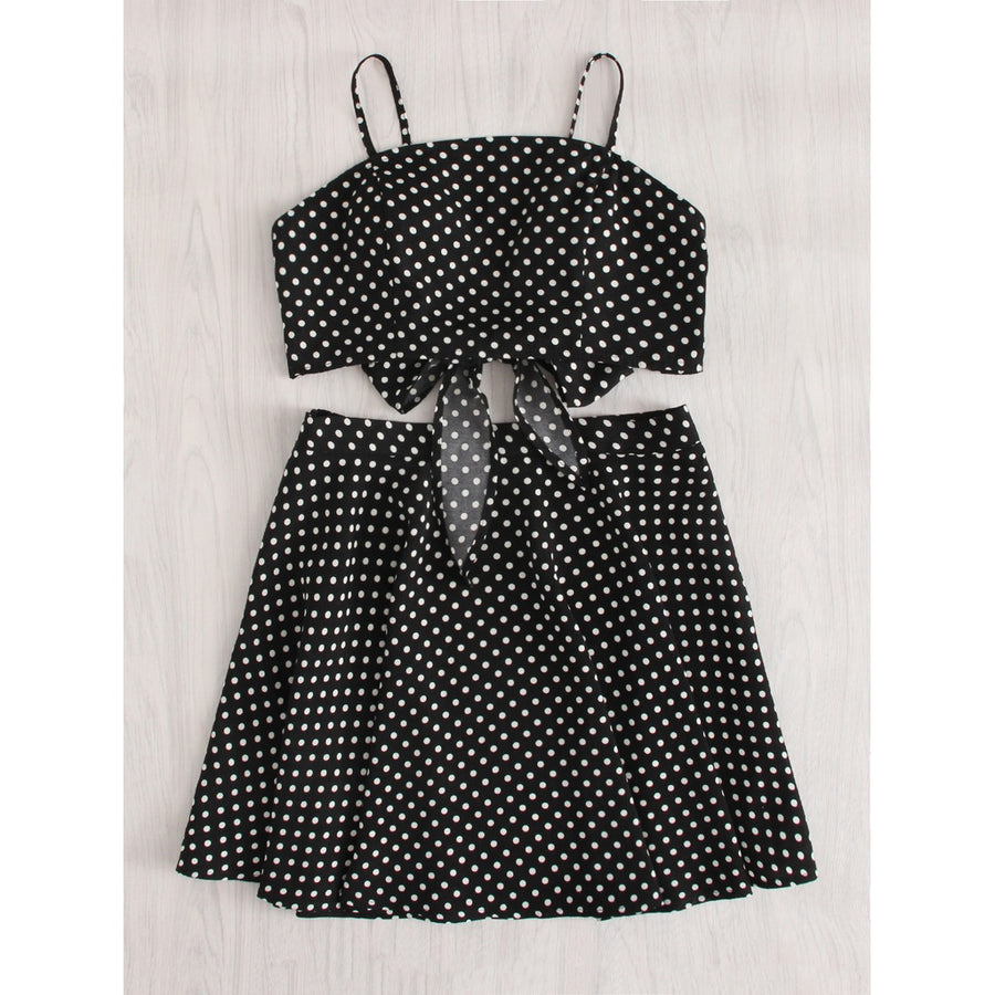 Polka Dot Knot Back Crop Cami And Skirt Set