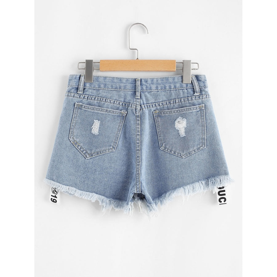 Letter Print Raw Hem Denim Shorts