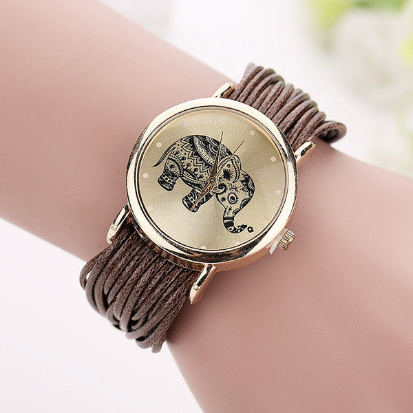 Women's Leather Band Elephant Watch