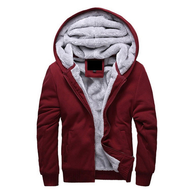Men's Wool Lined Zip Up Hoodie