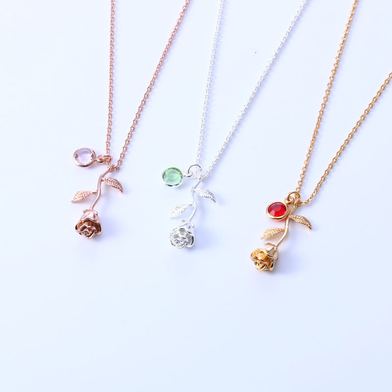 Women's Birthstone Rose Necklace
