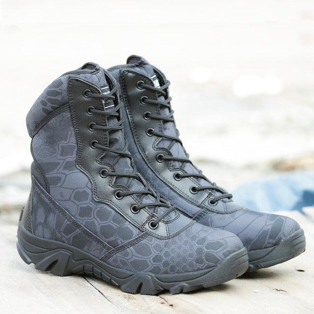 Men's Tactical Waterproof Leather Army Boots Desert