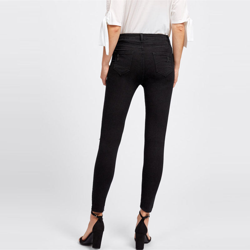Women's Knee Rip Black Jeans