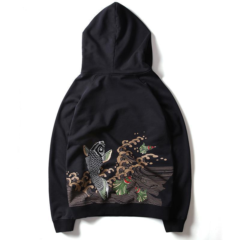 Carp Embroidered Hooded Pullover