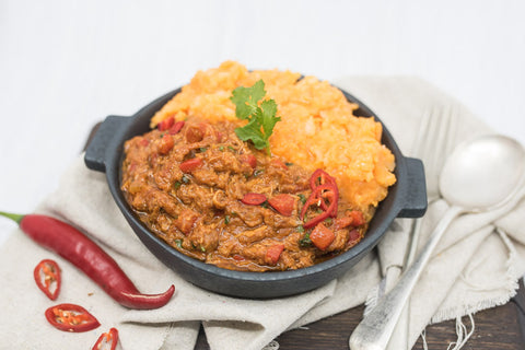 SLOW COOKED MEXICAN PORK WITH ROOT VEGETABLE MASH