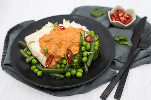 THAI RED FISH CURRY WITH SEASONAL VEGETABLES