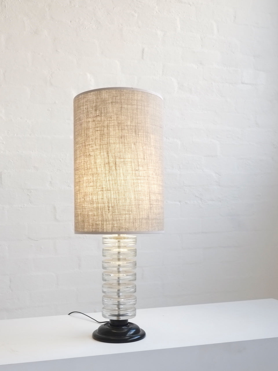Mid-Century Glass Table Lamp