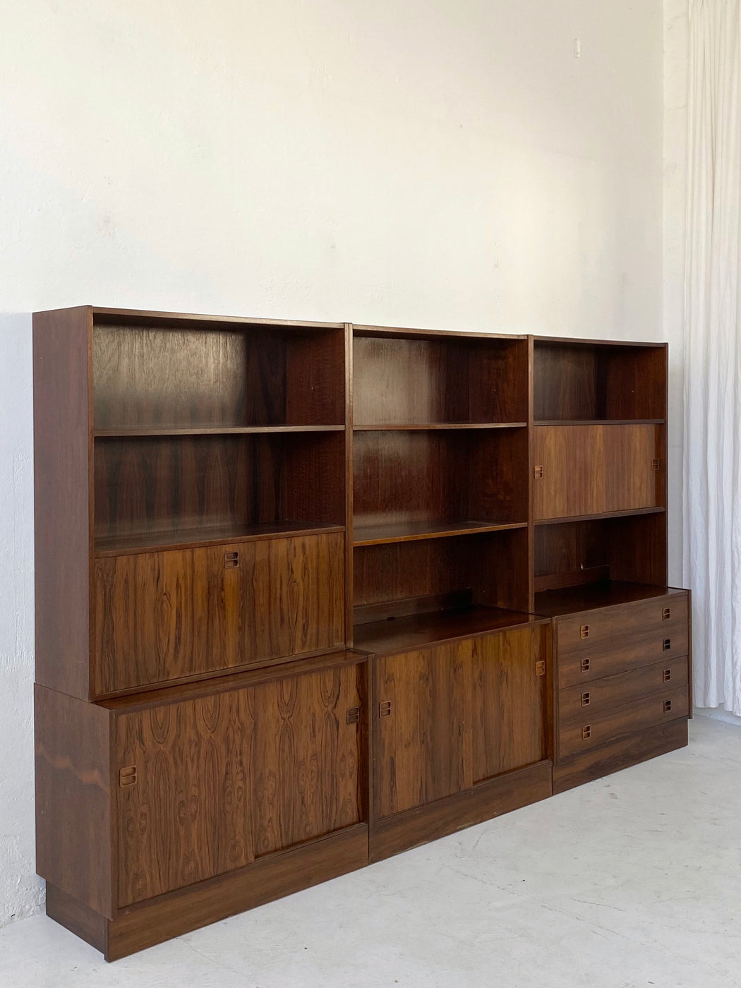 Three Section Danish Rosewood Wall Unit