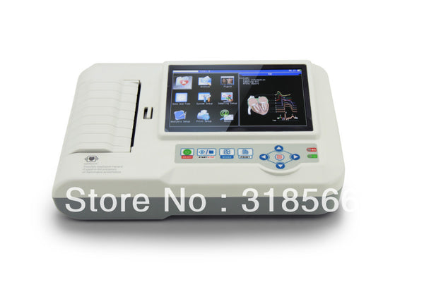 6 Channels ECG Electrocardiograph, ECG EKG Machine, including Printer & 3 Rolls Paper & USB Software