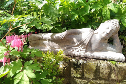 Reclining Sandstone and Gold Reclining Buddha Garden Ornament 60cm