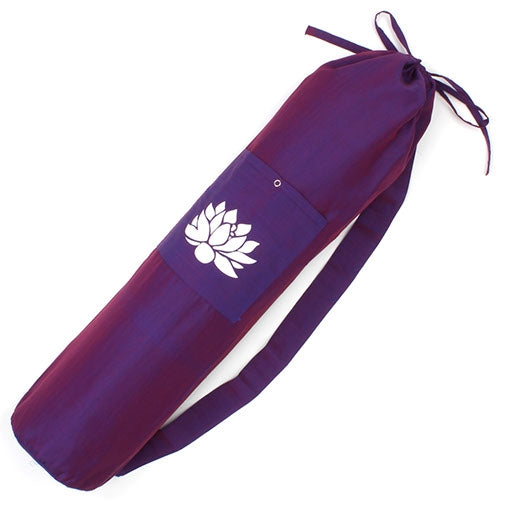 Cotton Lotus Design Yoga Mat Bag - Purple Fair Trade-The Useful Shop