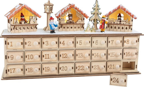 Christmas Market Natural Wooden Advent Calendar with Illumination-The Useful Shop