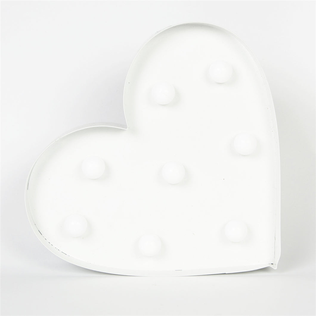 Illuminated White Heart Carnival Style LED Wall Light Battery Operated-The Useful Shop