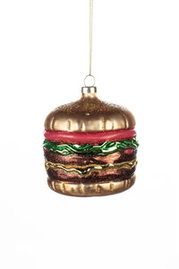 Sparkling Big Burger in a Bun Christmas Tree Ornament by Shoeless Joe
