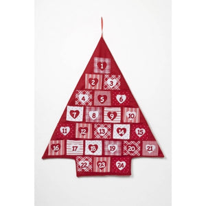 Red and White Nordic Christmas Tree Fabric Wall Hanging Advent Calendar-The Useful Shop