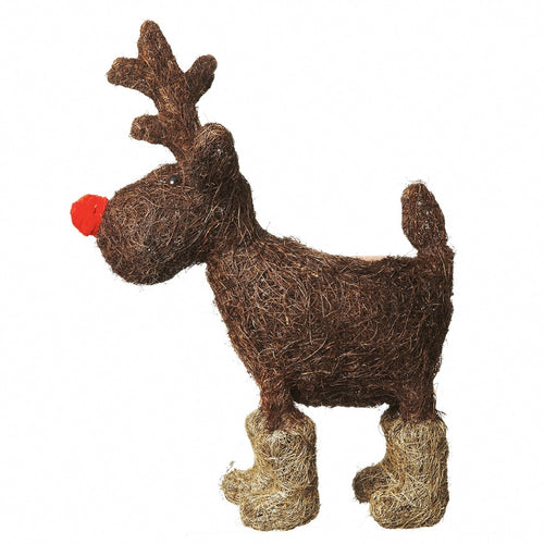 Large Reindeer Straw Plant Pot Holder for Christmas Display-The Useful Shop
