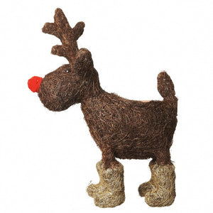 Large Reindeer Straw Plant Pot Holder for Christmas Display