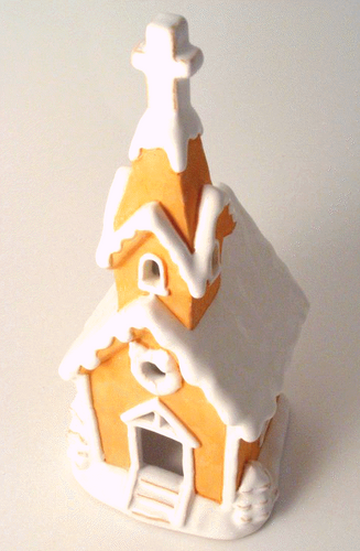 Very Large Ceramic Gingerbread Church Ceramic Candle Ornament-The Useful Shop