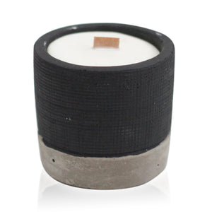 Brandy Butter Urban Concrete Soy Wax Christmas Candle with Wooden Wick Black/Grey