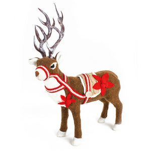 Christmas Fabric Reindeer with Flower Standing Decoration-The Useful Shop