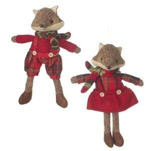 Set of 2 Fabric Fox Christmas Decorations - Highlands Boy and Girl-The Useful Shop