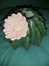 Large Ceramic Echinocactus Grusonii Globe Cactus Vase or Planter with Pink Flower