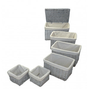 Set of 6 Lined Wicker Storage Baskets - Natural Whitewash Finish
