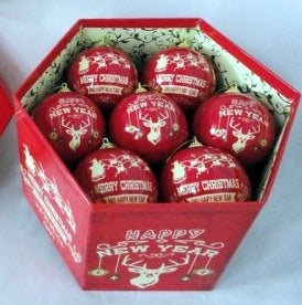 Luxury Merry Christmas Happy New Year 12 Red Decoupage Baubles Box set