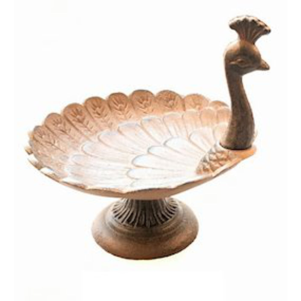 Cast Iron Peacock Bird Dish / Bath for Home and Garden Patio by Ascalon