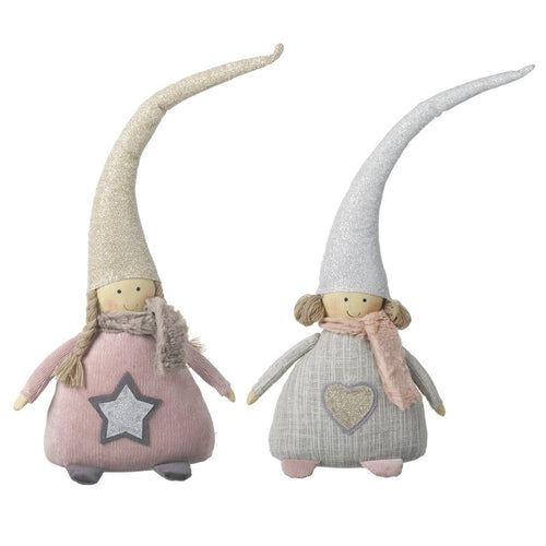 Set of 2 Large Luxury Fabric Christmas Girl Cute Display Decorations / Shelf Sitters by Heaven Sends-The Useful Shop