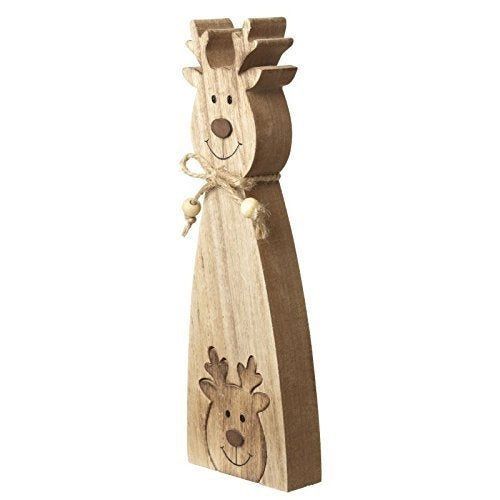 Rustic Christmas Wooden Reindeer Decoration with Baby Reindeer-The Useful Shop
