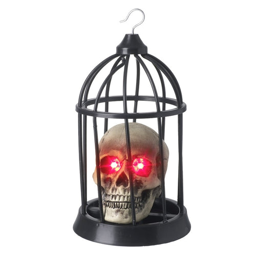 Large Caged Skull with LED Lighting Halloween Decoration-The Useful Shop
