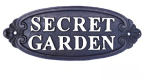 Cast Iron Secret Garden Patio Wall Plaque Sign