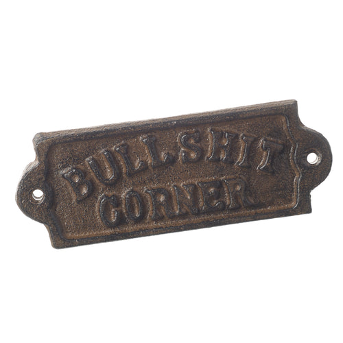 Humorous Vintage Pub Style Bullshit Corner Cast Iron Wall Sign-The Useful Shop
