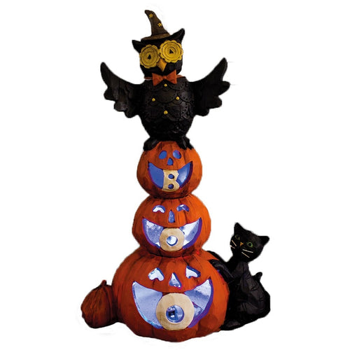 BOO Stacked Pumpkins with Owl Halloween Ornament with LED-The Useful Shop