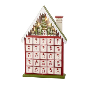Nordic Luxury Wooden Advent Calendar Town House with Lighting by Heaven Sends-The Useful Shop