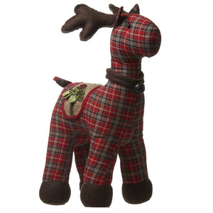 Medium Tartan Fabric Standing Highlands Christmas Reindeer-The Useful Shop