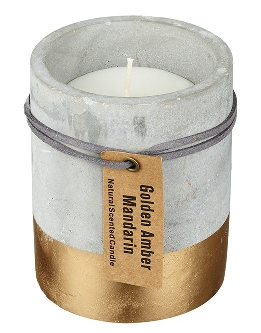 Medium Concrete and Gold Dipped Candle - Golden Amber & Mandarin-The Useful Shop