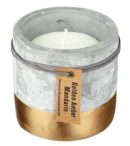 Large Concrete and Gold Dipped Candle - Golden Amber & Mandarin-The Useful Shop